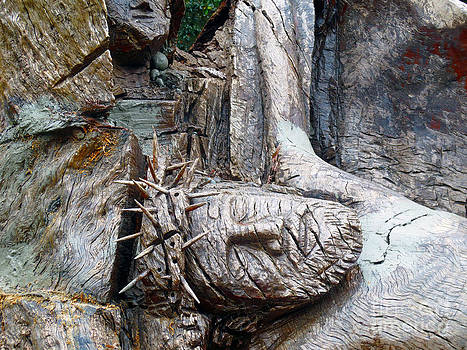 Tree Carved Crucifixion by Lisa Jones