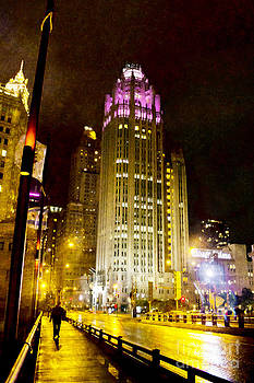 Tribune Tower On A Rainy Night by Jeanette Brown