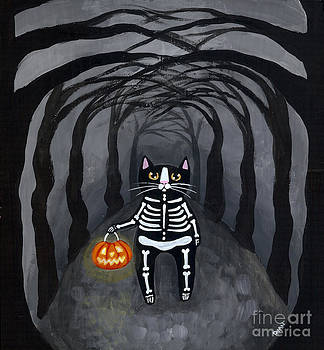 Trick or Treat Skellie Cat by Ryan Conners