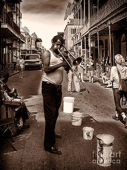 Kathleen K Parker - Trombone Man on Royal St. New Orleans