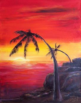 Tropical Sunset by Bozena Zajaczkowska