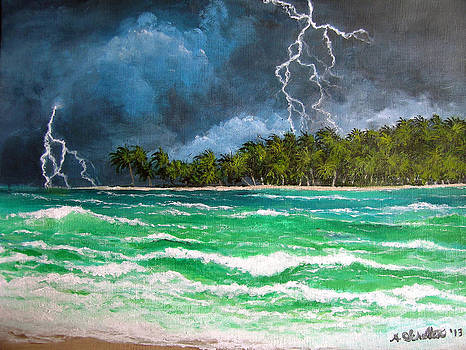Tropical Lightning Storm Across the Ocean  by Amy Scholten