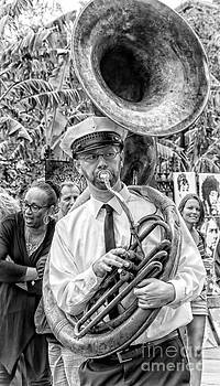 Kathleen K Parker - Tuba Player in Jackson Square BW
