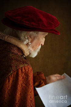 Tudor Man Reading A Document by Lee Avison