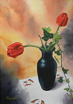 Tulips In Black Vase by Adel Nemeth