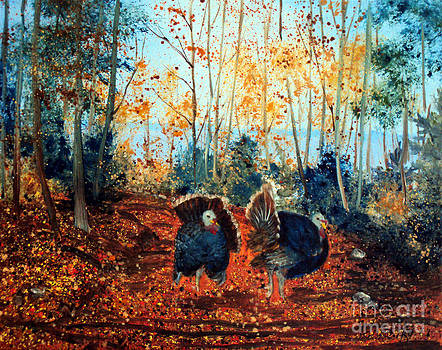 Turkey Dance on the Pond Road by Laura Tasheiko