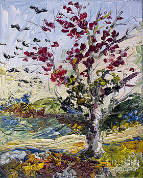 Ginette Fine Art LLC Ginette Callaway - Turning Red Autumn Fire Tree and Migrating Birds