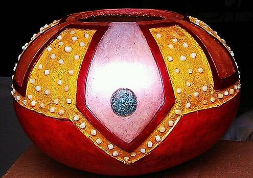 Turquoise and Glow Stone Gourd by David Syers