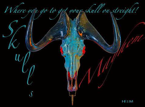 Turquoise and Gold Illuminating Black Wildebeest by Mayhem Mediums
