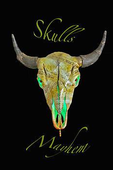 Turquoise and Gold Illuminating Buffalo Skull by Mayhem Mediums