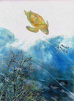 Turtle And Sea Fans by Nancy Gorr