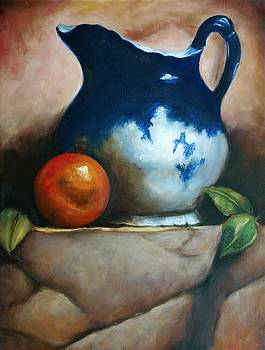 Tuscan Blue Pitcher Still Life by Melinda Saminski