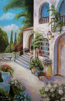 Tuscan Courtyard by Melinda Saminski