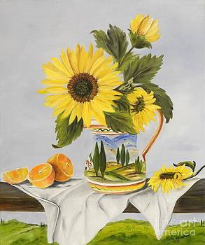 Tuscan Pitcher and Sunflowers by Carol Sweetwood