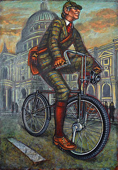 Bob on his Bantam St Pauls London by Mark Howard Jones