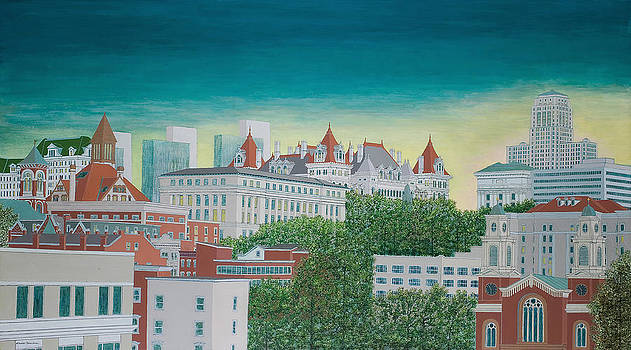 Twilight in Downtown Albany by David Hinchen