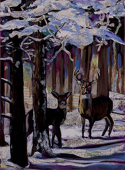 Two deer in snow in woods by Tilly Strauss