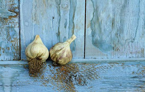 Two Garlic on Blue by Emma Manners