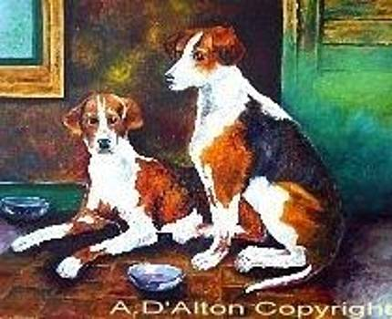 Two hungry dogs by Anne Dalton