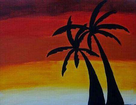 Two Palms At Sunset by Tiffany  Rios