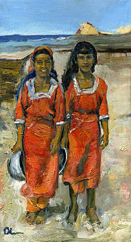 Two Socotri Girls In Red Dresses by Lelia Sorokina