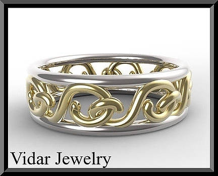 Two Tone Ring - 14kt Yellow And White Gold Woman Wedding Ring by Roi Avidar