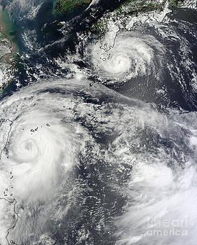 Science Source - Typhoons Saola And Damrey
