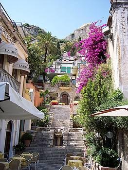 Typical street of Taormina by Alberto Pala