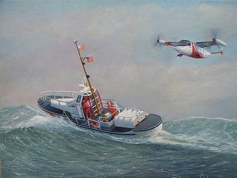 U. S. Coast Guard 44ft Motor Lifeboat and Tilt-Motor aircraft  by William H RaVell III