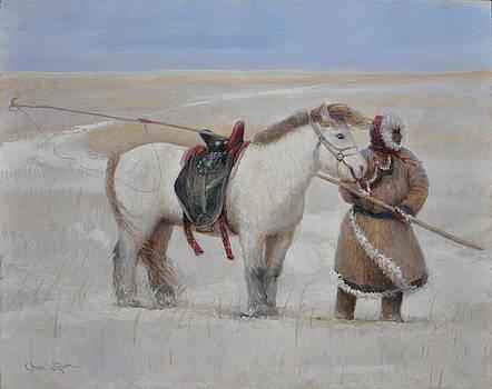 Ujumchin herdsmen in winter pastures by Ji-qun Chen