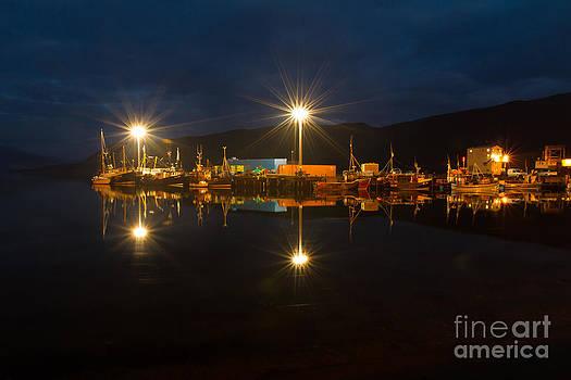 Ullapool harbour by night Scotland by Gabor Pozsgai