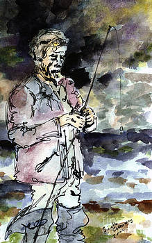 Ginette Callaway - Uncle Paul Fishing in the Pyrenees Mountains