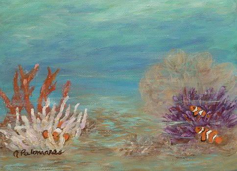 Underwater Marine Painting Clownfish by Amber Palomares