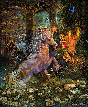 Unicorn King-Angel tarot card by Steve Roberts