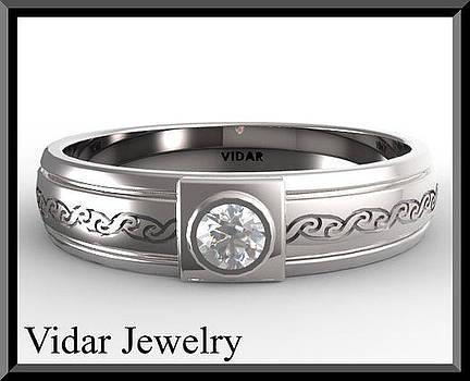 Unique 14k White Gold Diamond Men's Wedding Ring by Roi Avidar