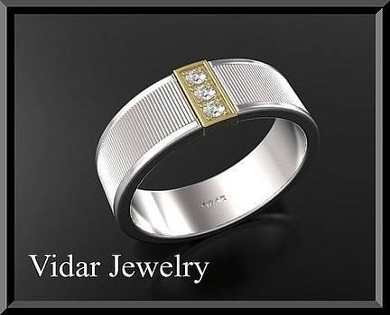 Unique 14k Yellow And White Gold Diamond Men's Wedding Ring by Roi Avidar