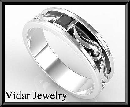 Unique 2 Tone Men's Wedding Ring - Black And White Gold Men Wedding by Roi Avidar