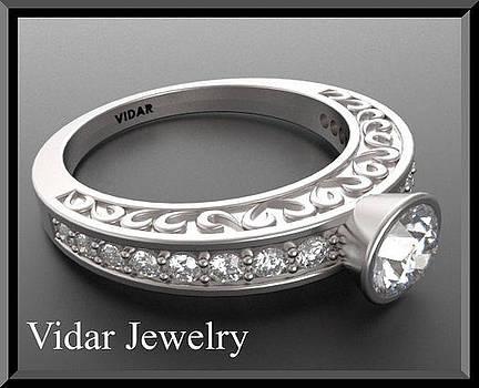 Unique Diamond 14k White Gold Heart Engagement Ring by Roi Avidar