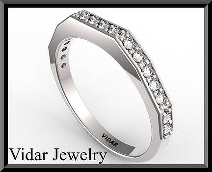 Unique Diamond Half Eternity 14k White Gold Woman Wedding Ring by Roi Avidar