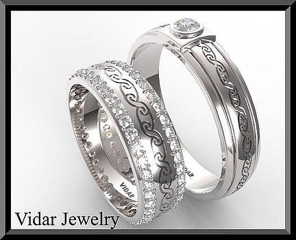 Unique His And Hers Matching Diamond And 14kt Gold Wedding Band Set by Roi Avidar