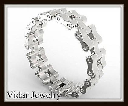 Unique Sterling Silver Bike Chain Men Wedding Ring by Roi Avidar