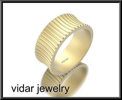 Unique Wide 14kt Yellow Gold Woman Wedding Ring by Roi Avidar