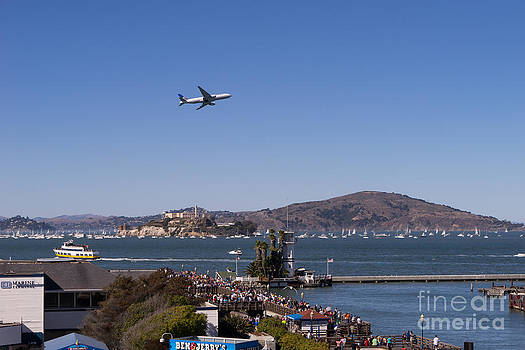 Wingsdomain Art and Photography - United Airlines Jet Over San Francisco Alcatraz Island DSC1765