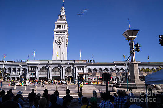 Wingsdomain Art and Photography - US Navy Blue Angels F18 Supersonic Jets Through San Francisco Ferry Building at Fleet Week DSC1745