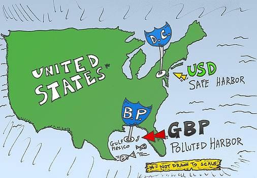 USD GBP oil spill caricature by OptionsClick BlogArt