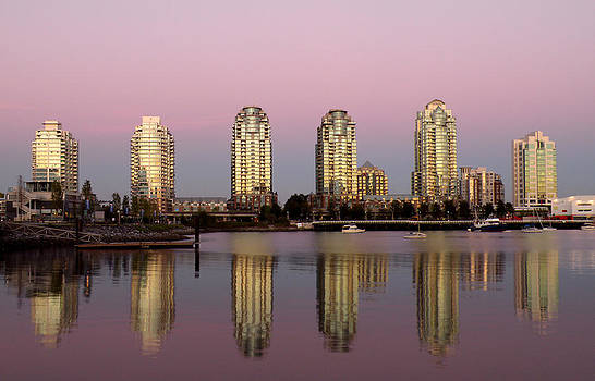 Vancouver's False Creek Towers Reflecting by Brian Chase