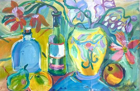 Vase and Bottles in Still Life by Brenda Ruark