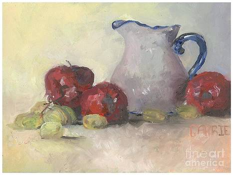 Vase Apples and Grapes by Carrie Williams