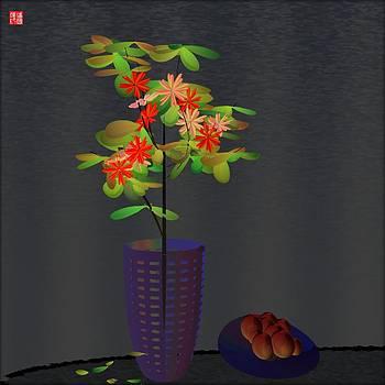 Vase with peaches by GuoJun Pan