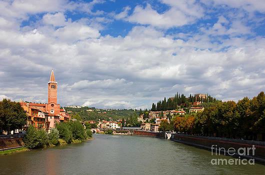 Verona Adige River view Toward Castel San Pietro by Kiril Stanchev